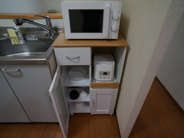 家電もご用意してあります。冷蔵庫・電子レンジ・炊飯器・電気ケトル等