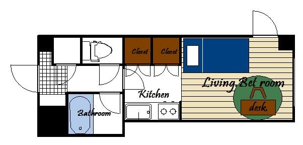 ※実際ご利用頂きますお部屋とは間取りが異なる場合がございます。洋室6帖 キッチン3帖